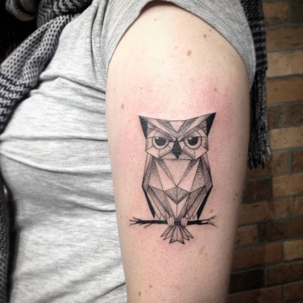 Geometric owl tattoo - photo#22