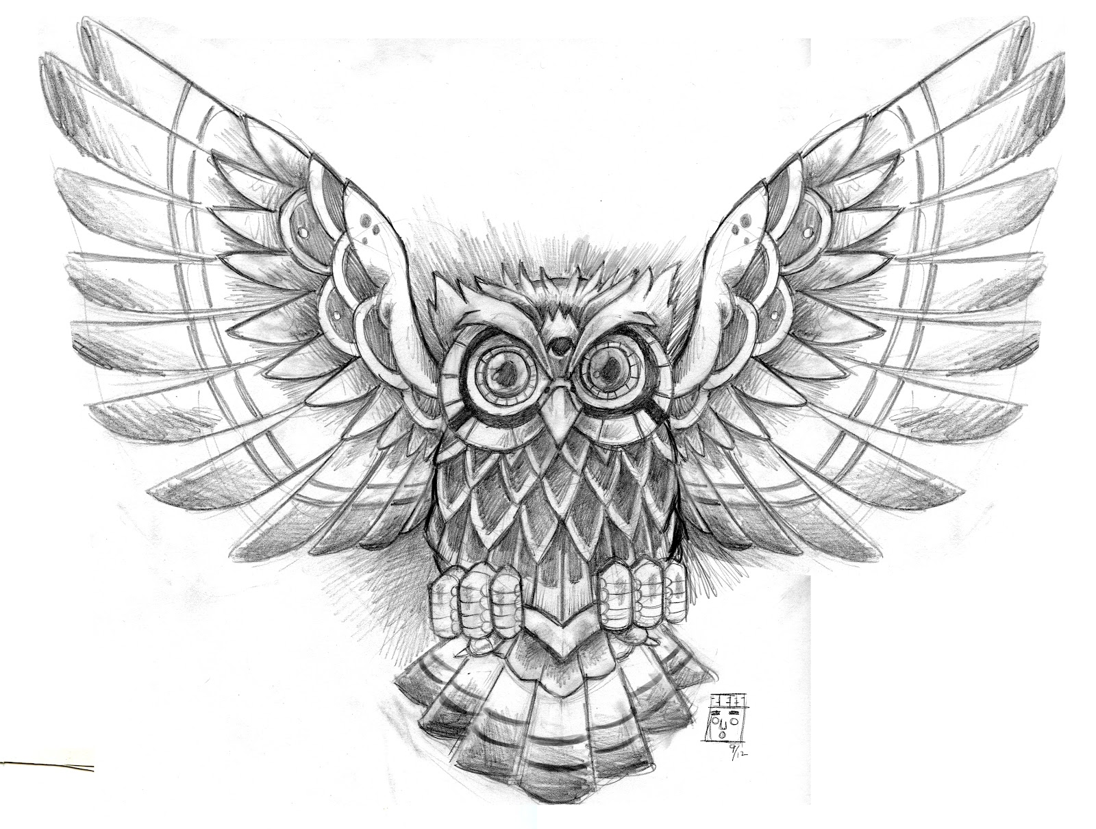2a0d5f81ae10d Grey Ink Flying Owl Tattoo Design