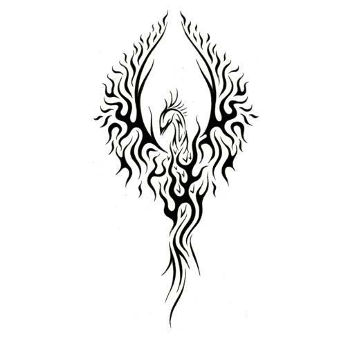 42a1abbbf Latest Black Tribal Flying Phoenix Tattoo Stencil