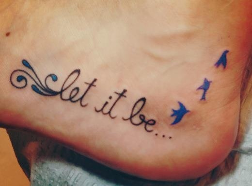 35 cute word foot tattoos for Tattoos with words