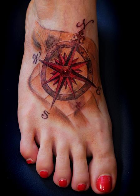 25 nautical foot tattoos ideas for Nautical compass tattoo