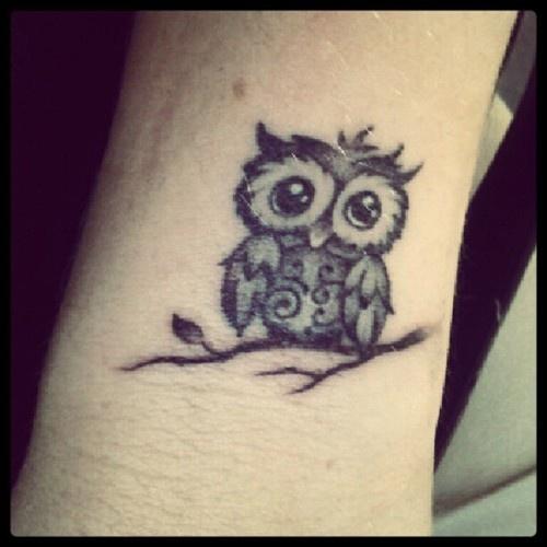 015346f7dc781 Small Black Ink Cute Owl Tattoo Design