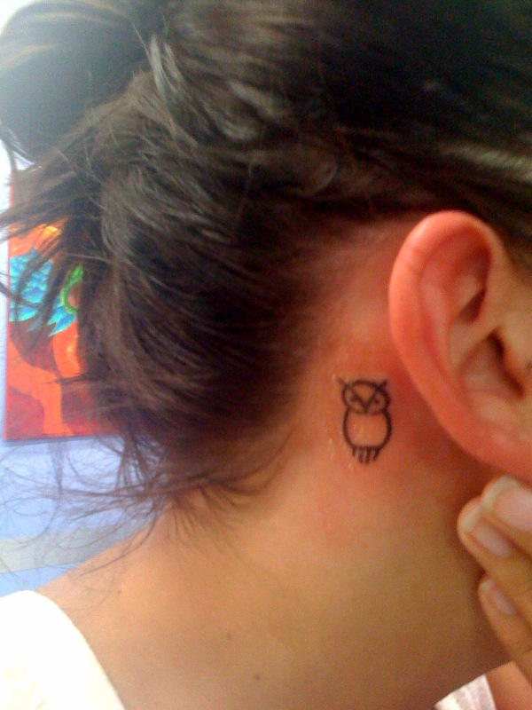 50 small owl tattoos collection for Small behind the ear tattoos for girls
