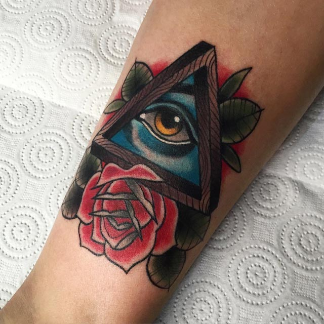 Eye In A Rose Tattoo: 40+ Triangle Eye Tattoos Collection