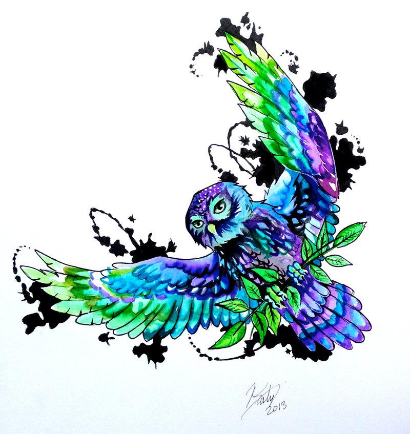Watercolor Flying Owl