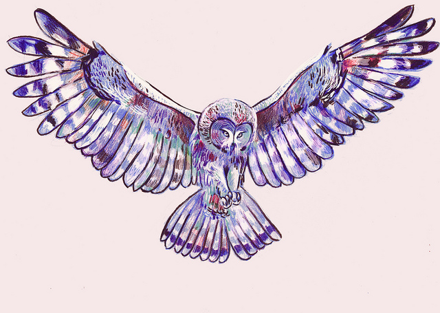 watercolor flying owl tattoo design