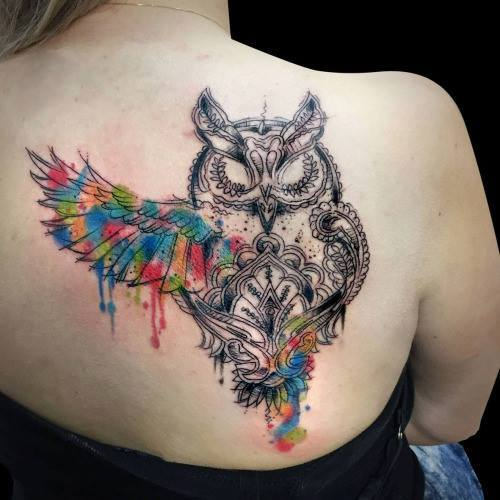 42 Watercolor Lily Tattoos Collection: 42+ Nice Owl Tattoos On Back
