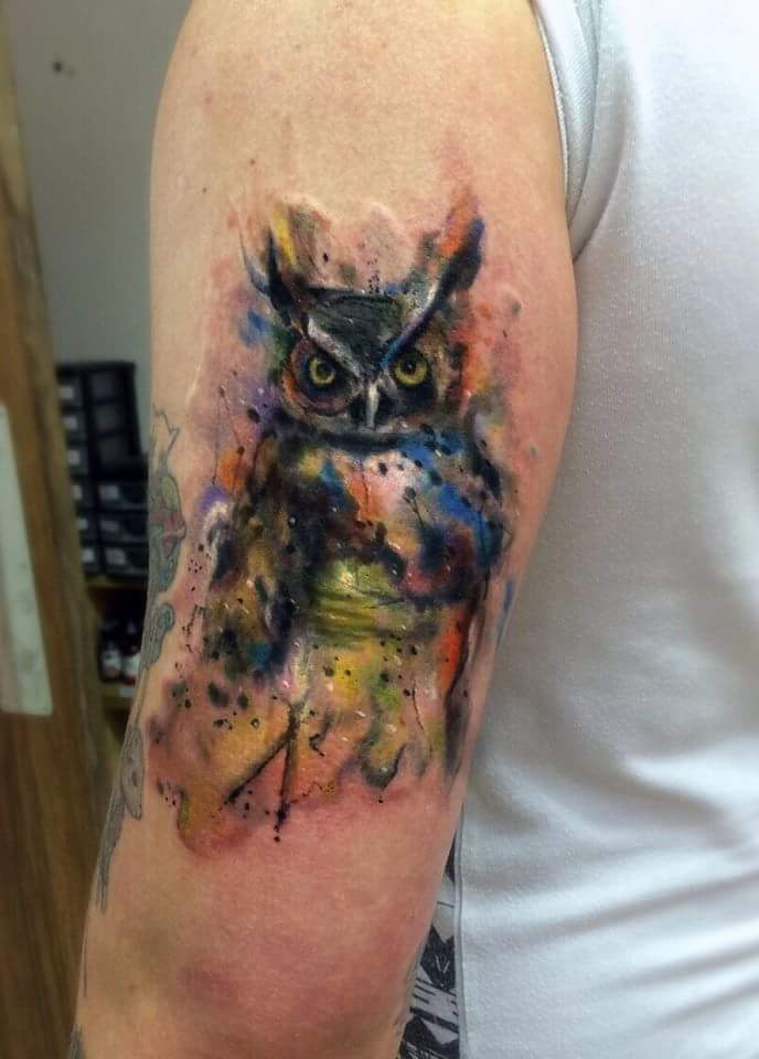 60 watercolor owl tattoos collection for Watercolor owl tattoo