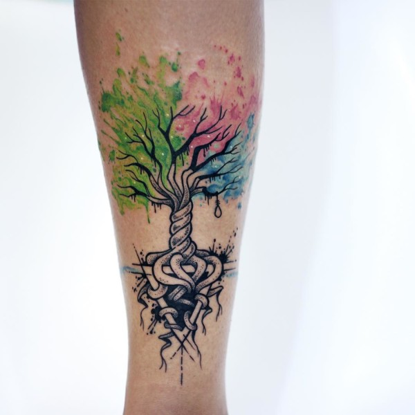 50 latest tree of life tattoos designs for Tree of life watercolor tattoo