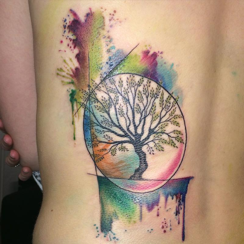 45 colorful tree of life tattoos. Black Bedroom Furniture Sets. Home Design Ideas
