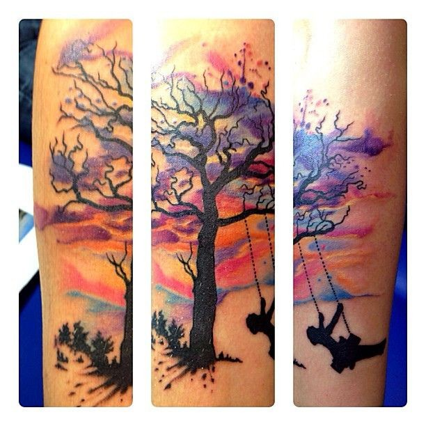 35 tree of life tattoos on forearm for Tree of life watercolor tattoo