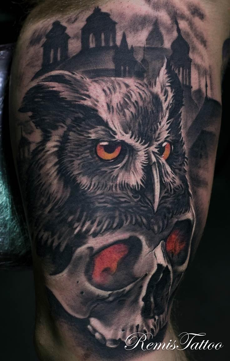 58 best skull owl tattoos collection. Black Bedroom Furniture Sets. Home Design Ideas
