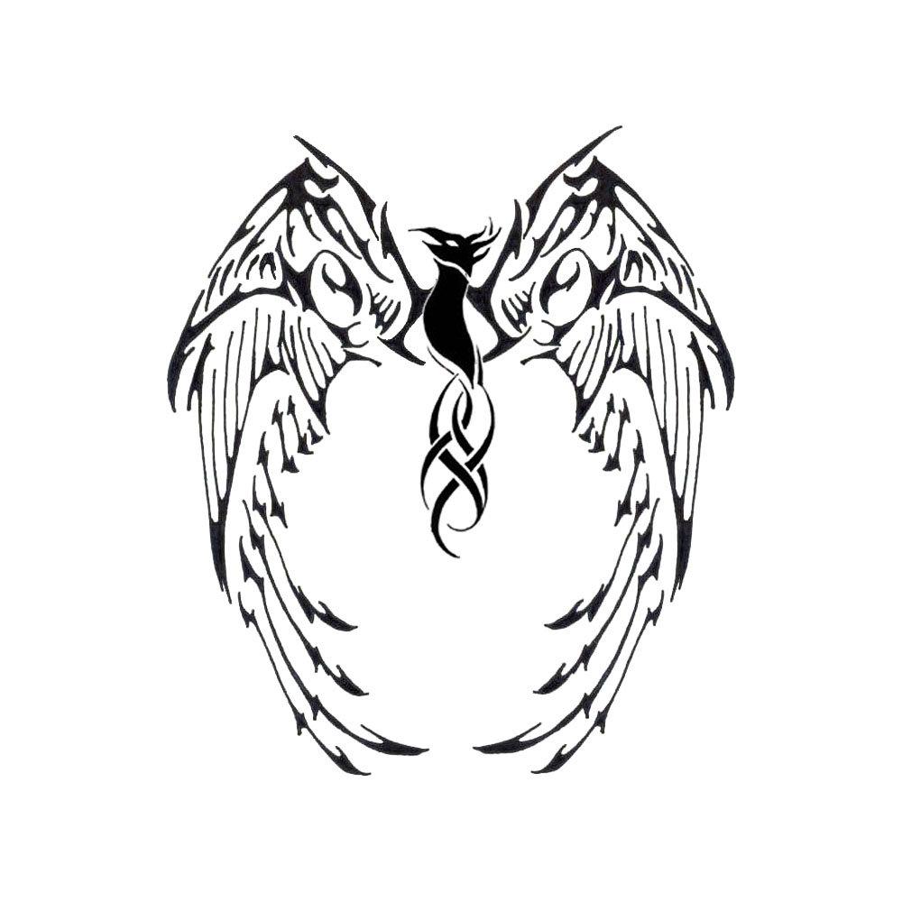 wonderful black tribal phoenix tattoo stencil by pierre boivin. Black Bedroom Furniture Sets. Home Design Ideas