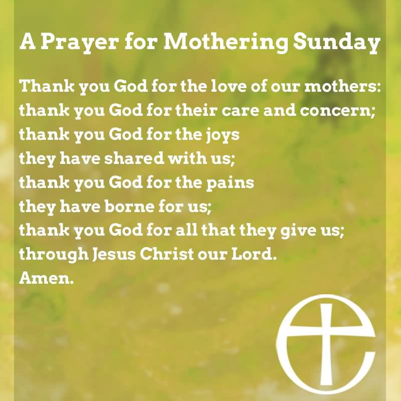 A Prayer For Mothering Sunday