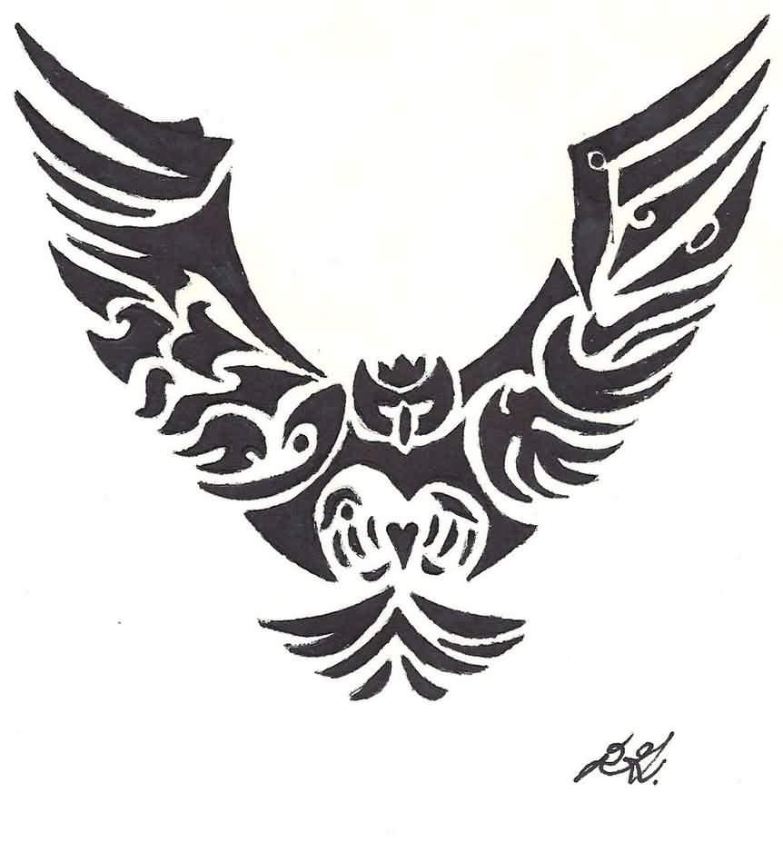 Tribal-Tattoos Amazing-Black-Tribal-Flying-Owl-Tattoo-Design