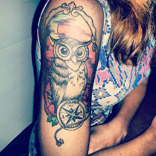 26+ Nice Owl Compass Tattoos