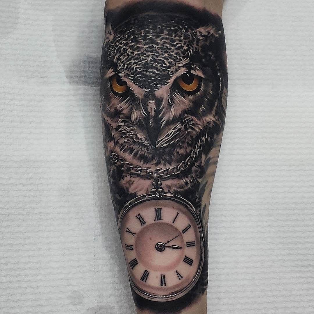 Owl Sleeve Tattoo: 43+ Owl Pocket Watch Tattoo