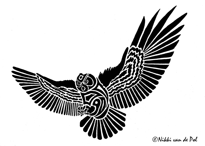 Flying owl stencil - photo#16