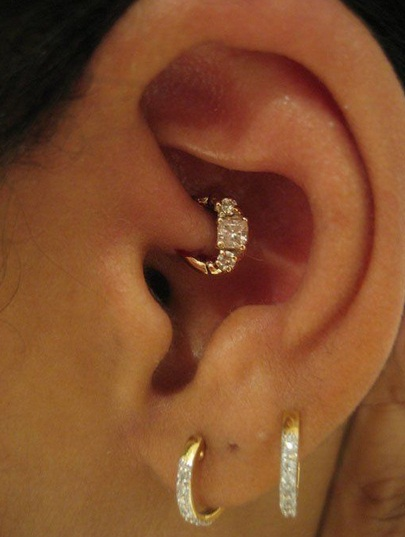 Awesome Double Lobes And Rook Piercing