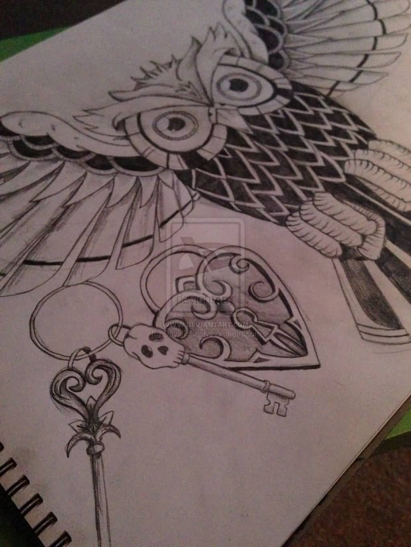 44 amazing owl lock tattoos for Heart lock and key tattoo