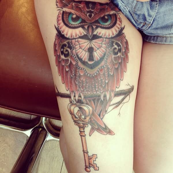 965438caa673a Awesome Owl On Branch With Key Tattoo On Right Thigh