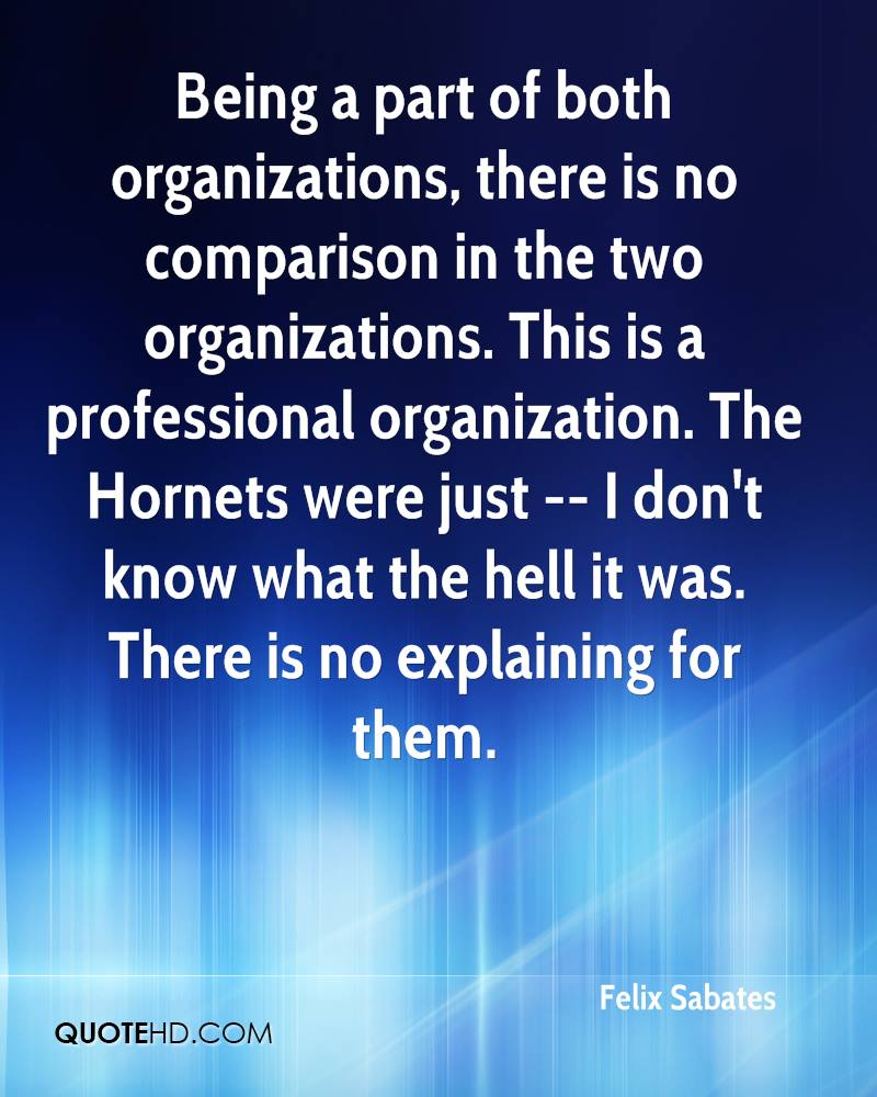 Being a part of both organizations, there is no comparison in the two organizations. This is a professional organization. The Hornets... Felix Sabates