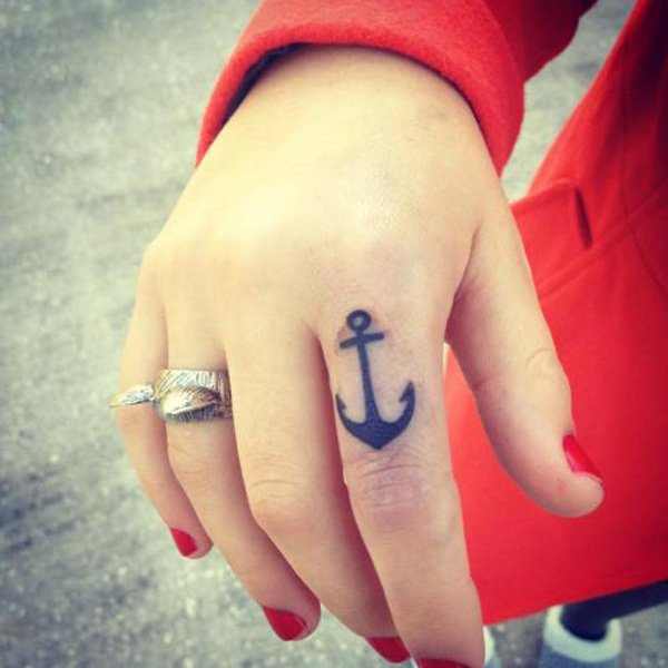 2d7647661 Black Anchor Tattoo On Girl Right Hand Finger
