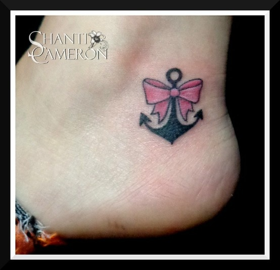 Pink Bow Tattoo Ankle