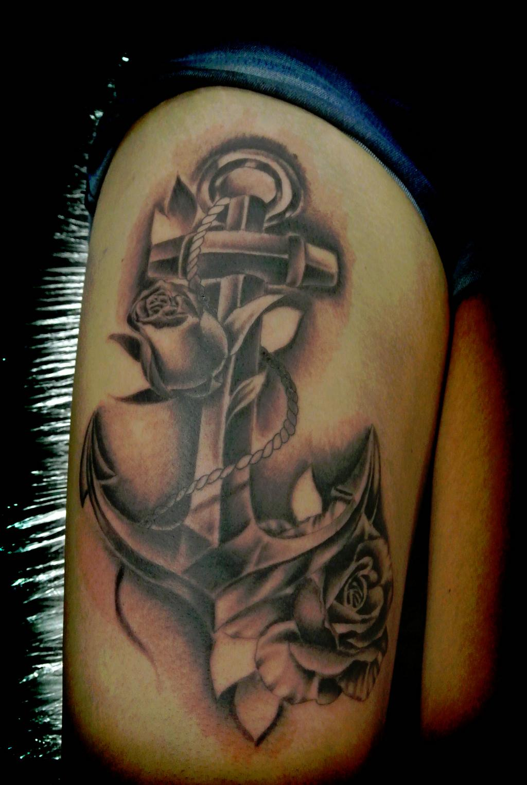 43 black and grey anchor tattoos collection for Anchor rose tattoo