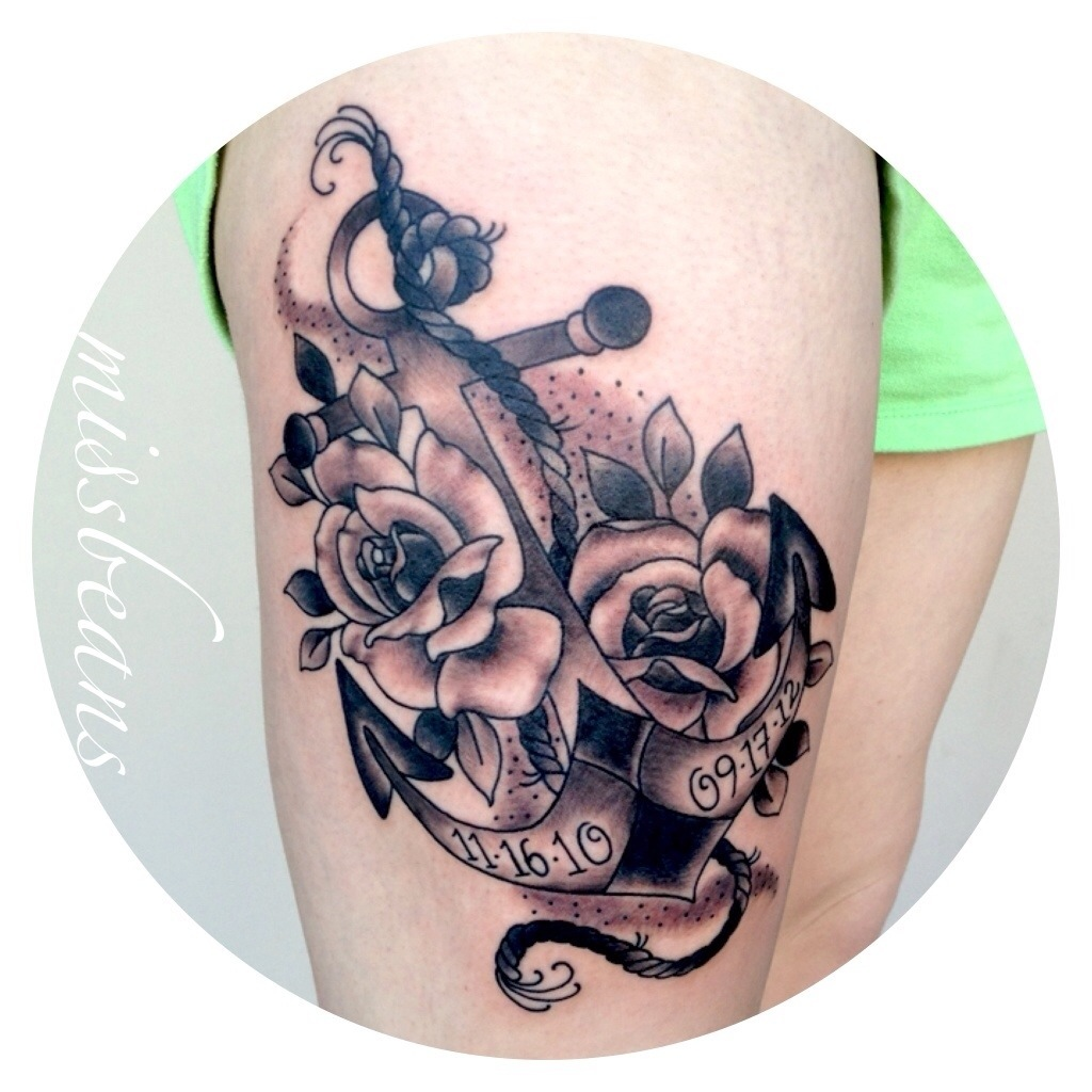 43 black and grey anchor tattoos collection for Anchor with flowers tattoo
