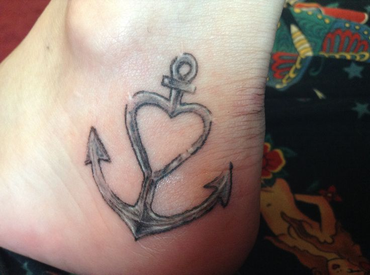 dd8978e12 Black And Grey Anchor With Heart Tattoo On Ankle