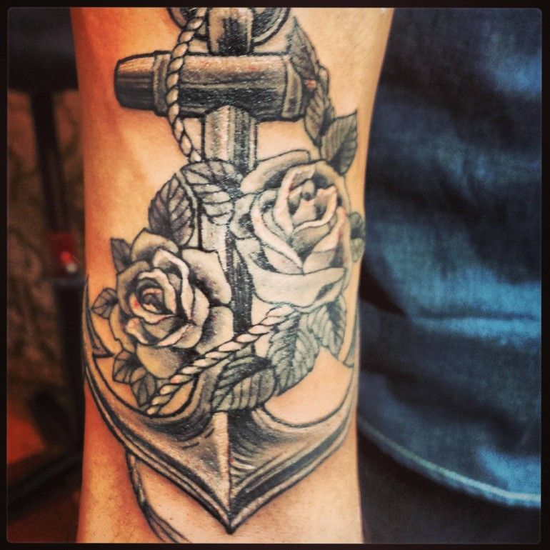 b8b4eea74 Black And Grey Anchor With Roses Tattoo Design For Sleeve By Jen Guertin