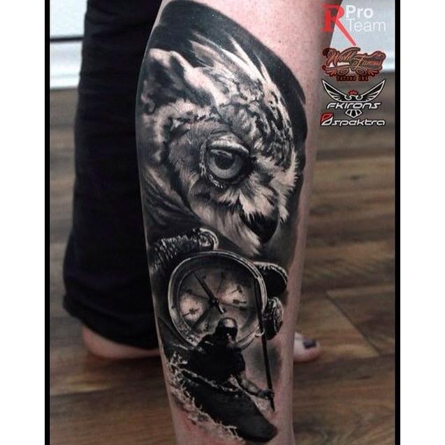 Pocket Watch Owl Tattoo 57+ Latest Black Owl T...