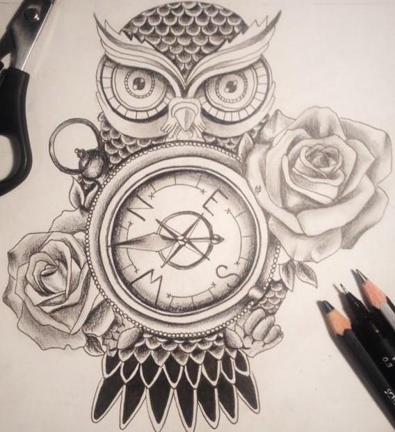 26+ Nice Owl Compass Tattoos