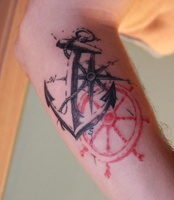 48+ Best Anchor Compass Tattoos
