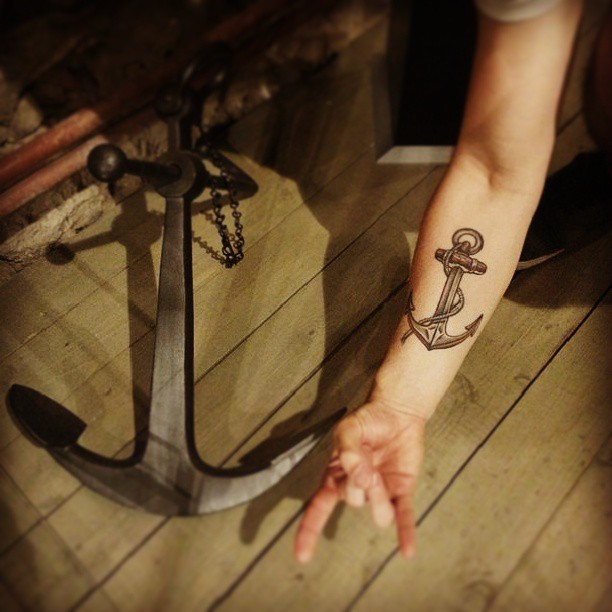 37247c456 Black Ink Anchor Tattoo On Girl Right Forearm