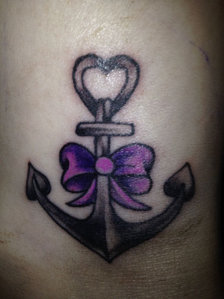 18a6211e5 Black Ink Anchor With Bow Tattoo Design For Ankle