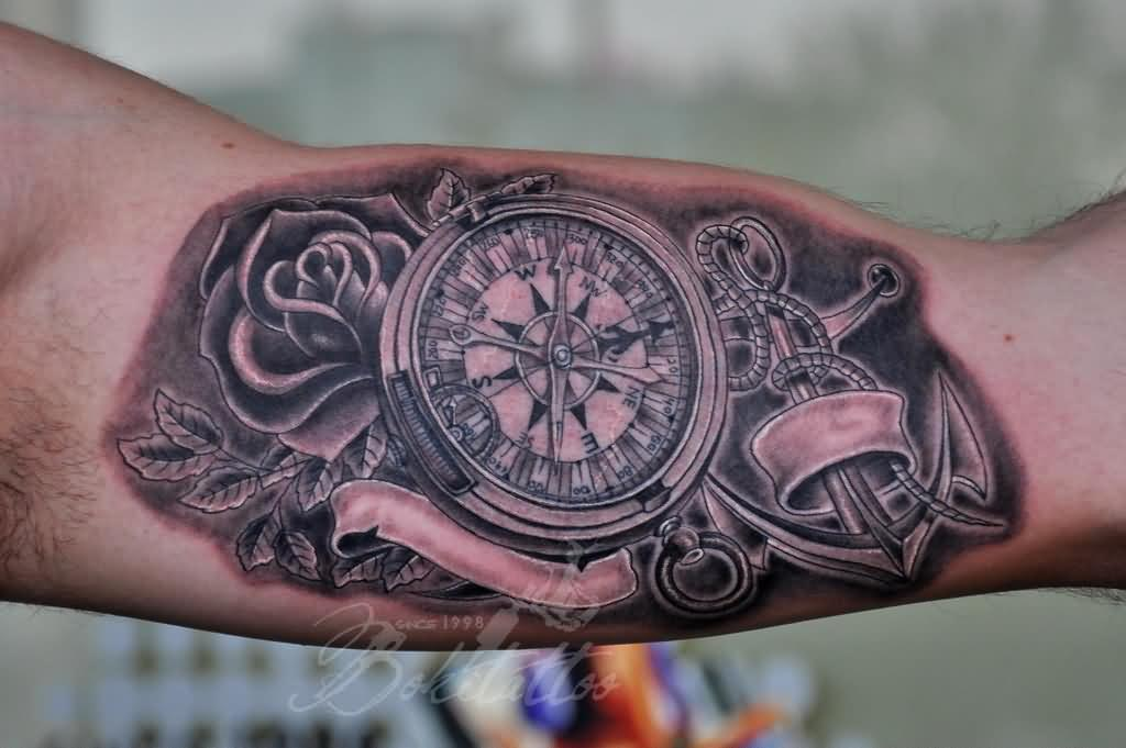48+ Best Anchor Compass Tattoos