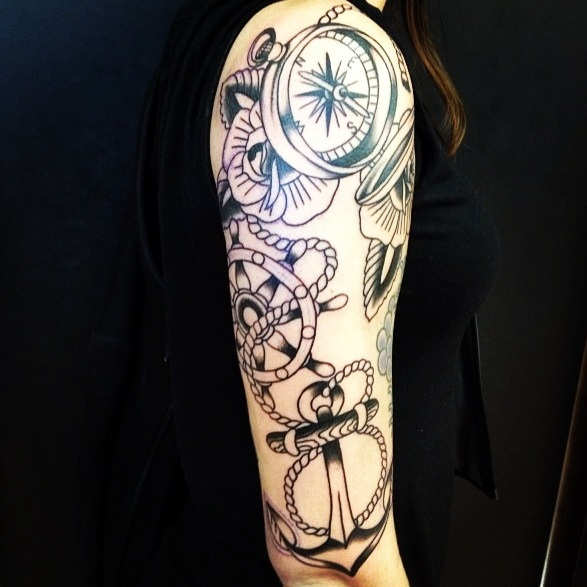 48 Best Anchor Compass Tattoos