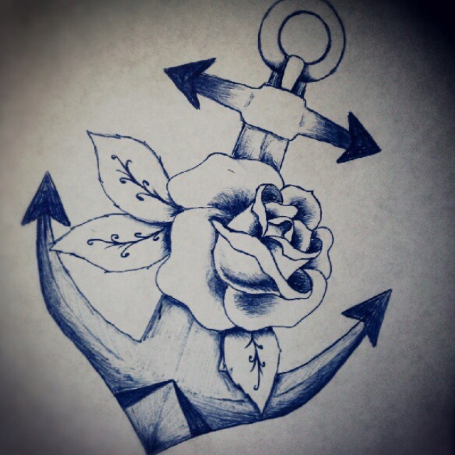 20 anchor with rose tattoo designs for Anchor with roses tattoo