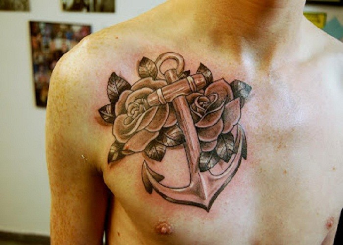 36 anchor tattoos on chest for Anchor with roses tattoo