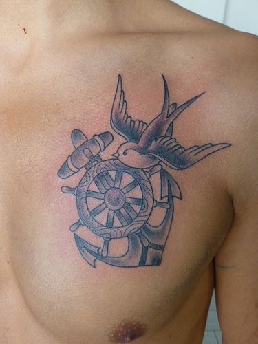 36 anchor tattoos on chest for Anchor and wheel tattoo