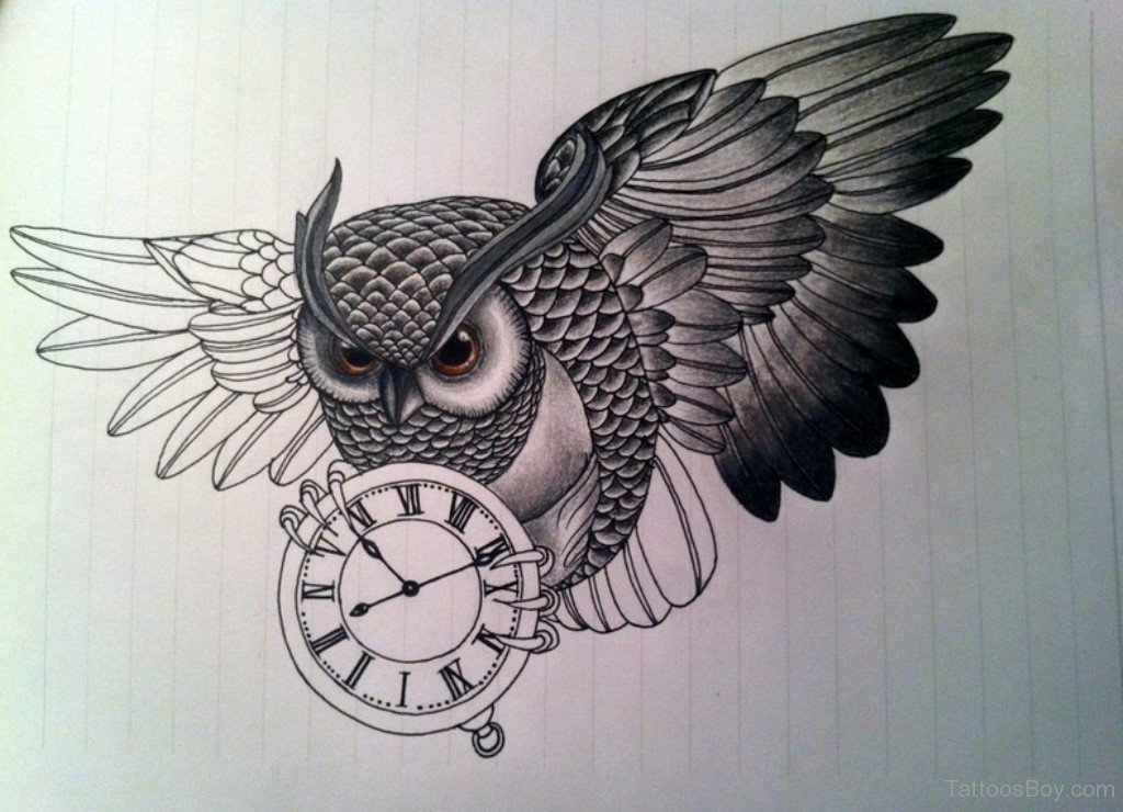 40 awesome owl clock tattoos for Owl tattoo designs