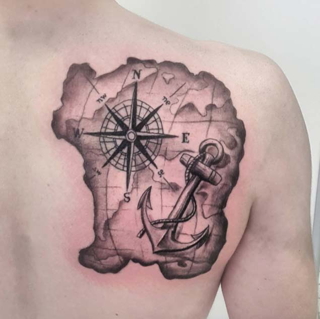 48 best anchor compass tattoos for Black anchor tattoo la