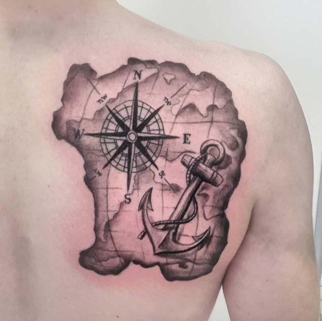 48 best anchor compass tattoos. Black Bedroom Furniture Sets. Home Design Ideas