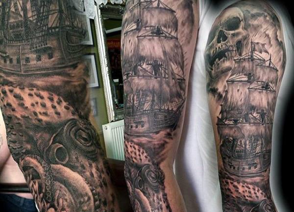 Octopus Ship Tattoo Sleeve 43+ Octopus Tattoos Fo...