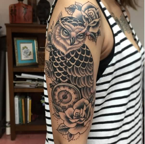 Black Ink Rose Tattoo On Girl Right Hip: 43+ Owl Pocket Watch Tattoo
