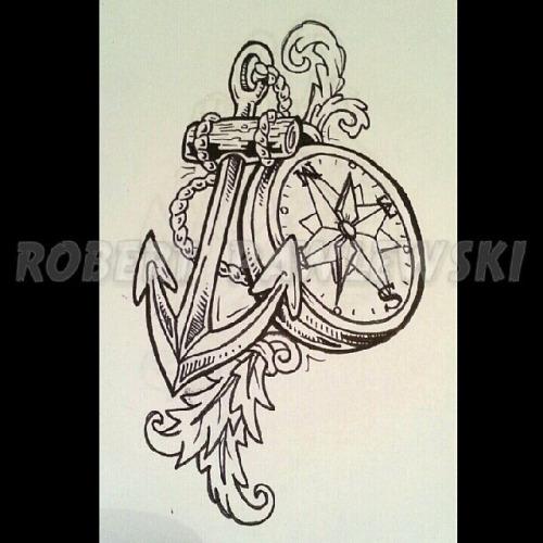 0c23a70f28e22 Black Outline Anchor With Compass Tattoo Design