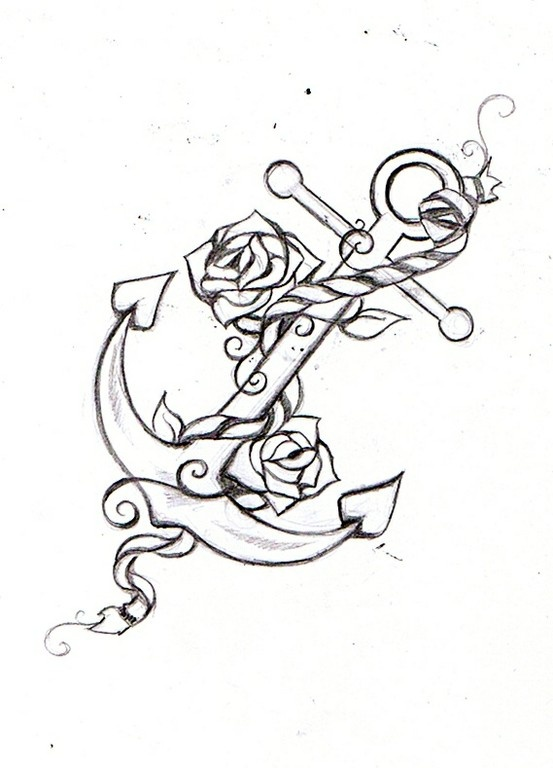 Anchor With Flowers Outline