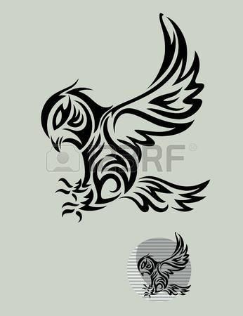 Flying owl stencil - photo#17
